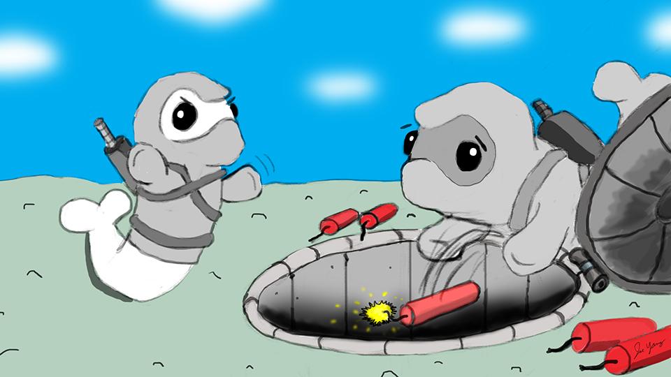 Random sketch: The Ninja Seals succumb to their burning curiosity...