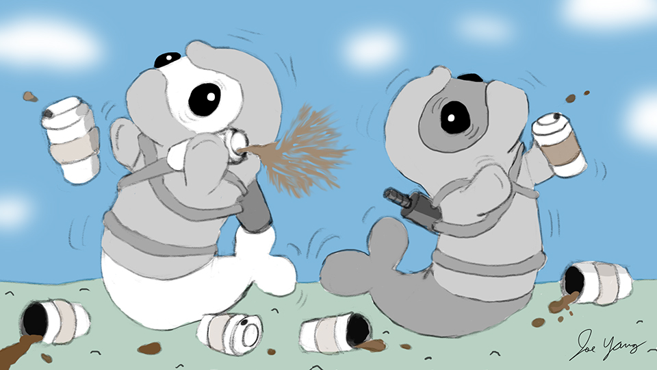 Random sketch: The Ninja Seals realize they might be a little over-caffeinated today...