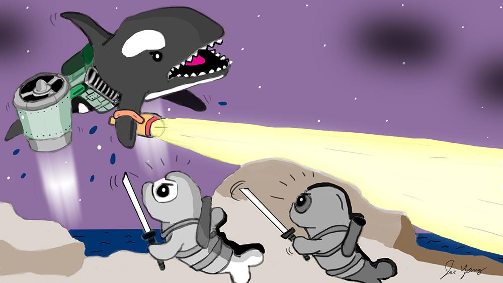 Random sketch: Ninja Seals try to sneak past the hovering orca...