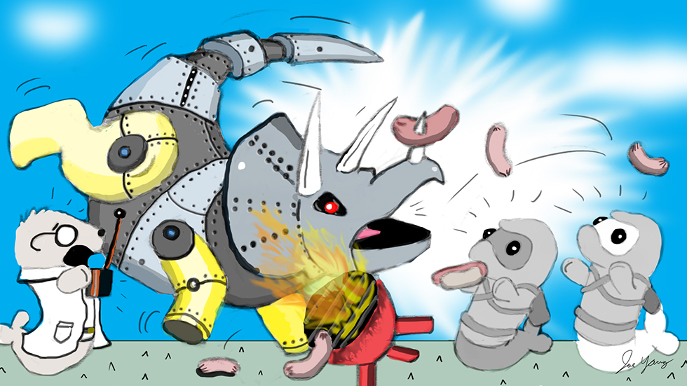 Random sketch: A robot triceratops goes haywire at the Ninja Seals' barbecue!