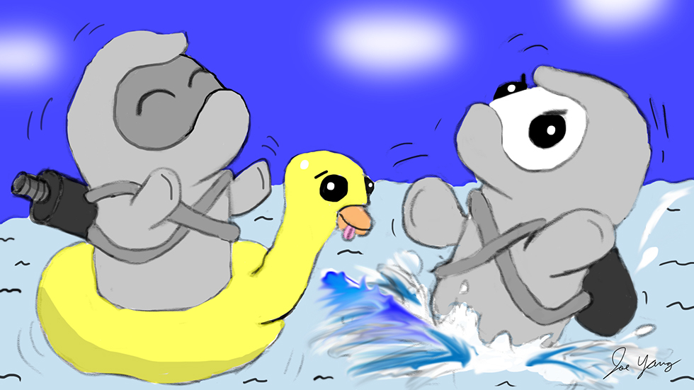 Random sketch: The Ninja Seals don't seem too concerned about being lost at sea...