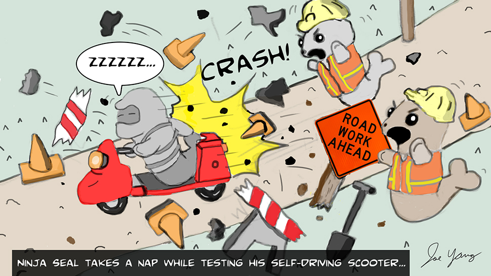 Random sketch: Ninja Seal takes a nap while testing his self-driving scooter...