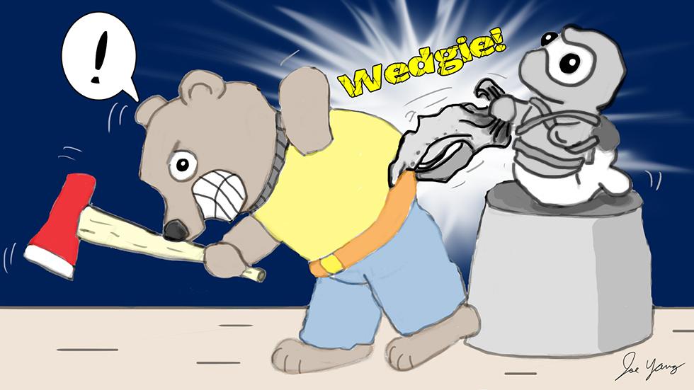 Random sketch: Ninja Seal administers a well-timed wedgie
