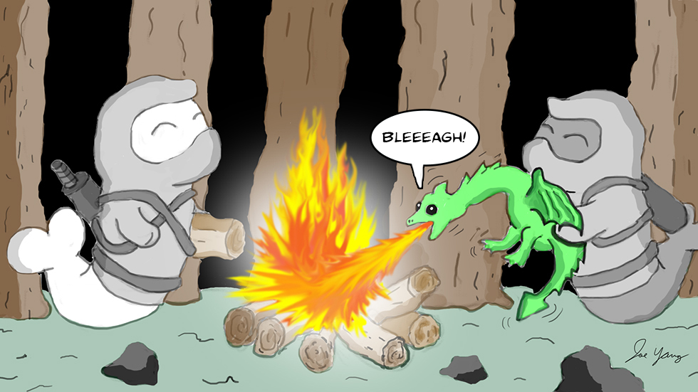 Random sketch: The Ninja Seals demonstrate why it's a good idea to take baby dragons on camping trips!