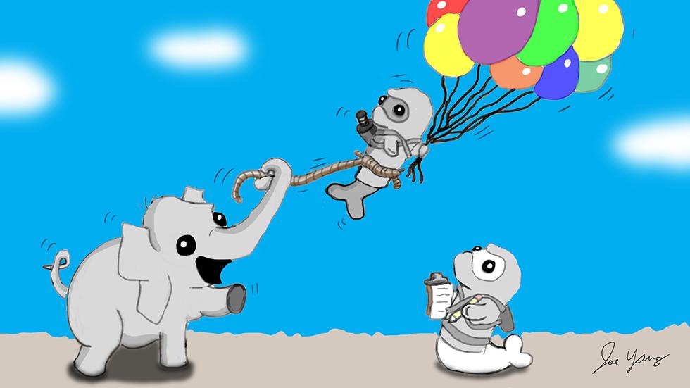 Random sketch: A small elephant interrupts the Ninja Seals' flight experiment