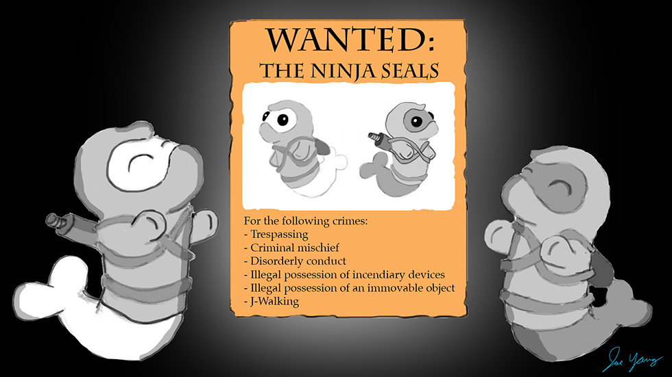 """Ninja Seals are proud of their """"wanted"""" poster"""