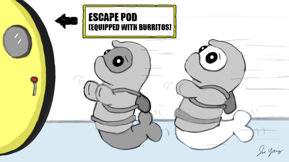 The Ninja Seals make a beeline for their preferred escape pod