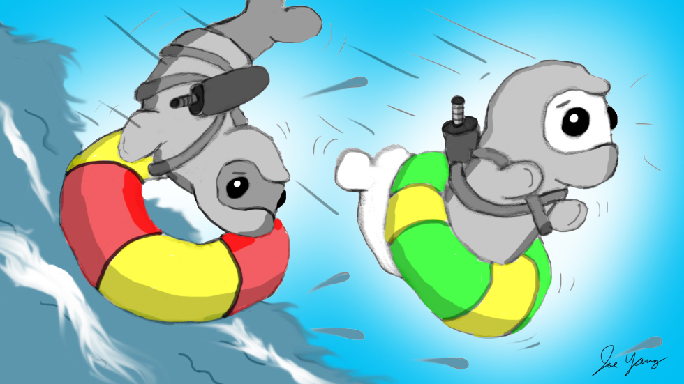 The Ninja Seals realize they may have picked the wrong equipment for their white-water excursion
