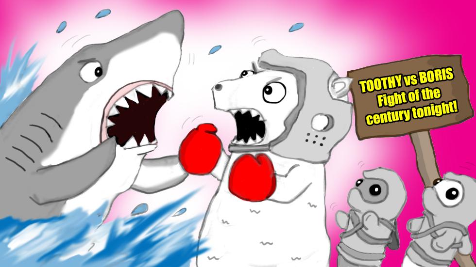 Ninja Seals stumble upon a highly anticipated fight between a shark and polar bear