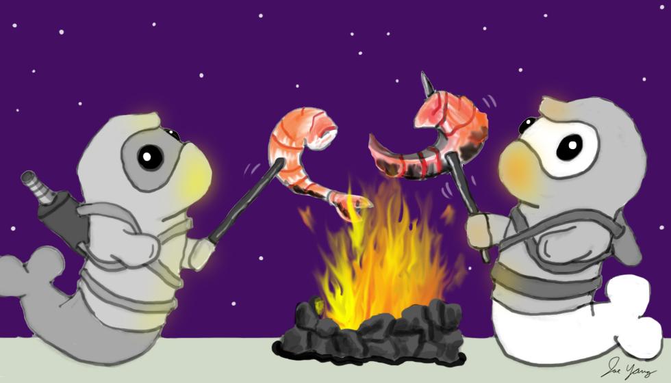 Ninja Seals are about to enjoy some huge roasted shrimp!