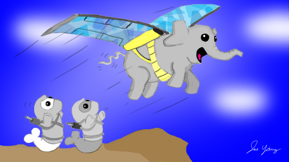 The Ninja Seals worry that elephant's flying excursion might end badly