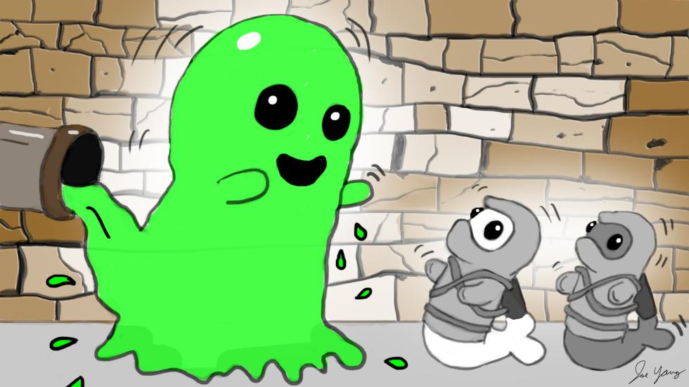 A different (but friendlier) slime monster follows the Ninja Seals underground
