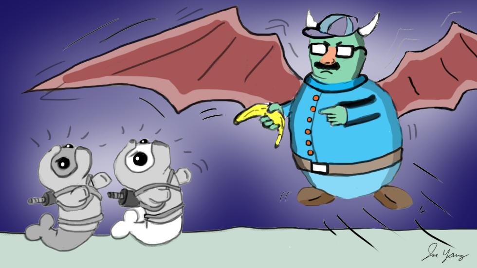 The fat gargoyle's disguise doesn't fool the Ninja Seals!