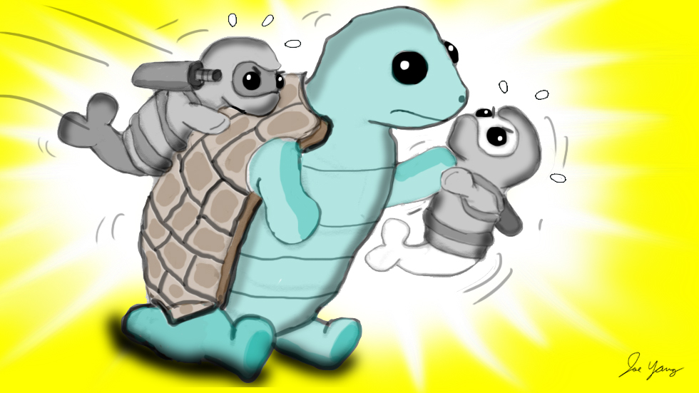 The Ninja Seals try in vain to wrestle a tortoise into submission