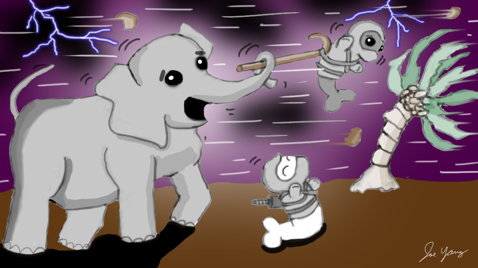 The Ninja Seals and Elephant have an exciting time on a windy, stormy day