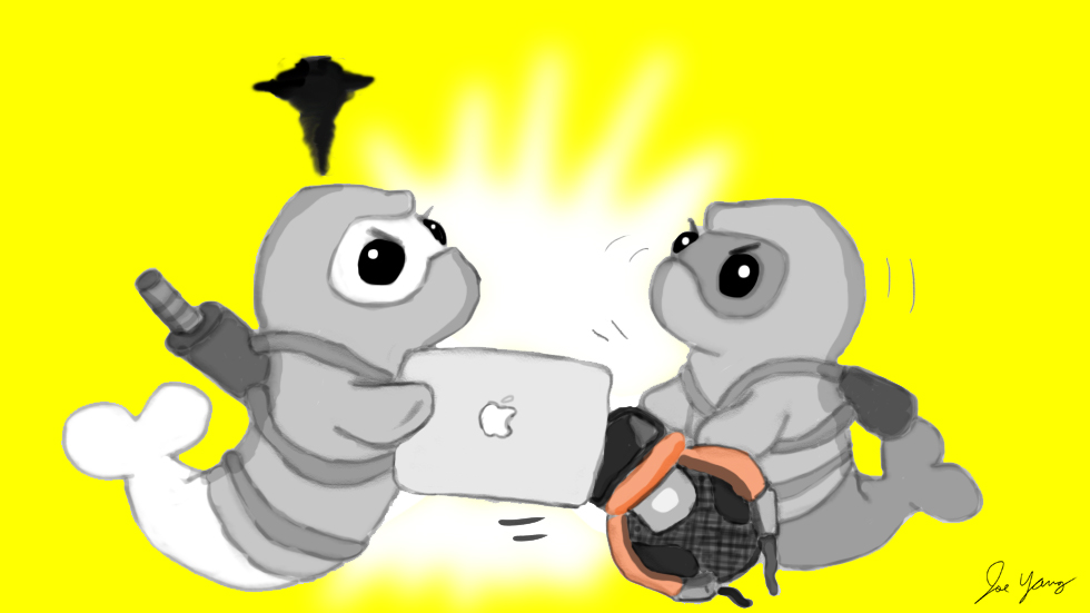 The Ninja Seals are annoyed that the 11.6 inch MacBook Air has been discontinued - it was the perfect size! Now they'll have to get a new backpack, too!