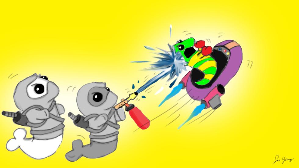 The Ninja Seals ward off an annoying alien!