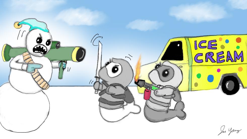 Ninja Seals confront an anti ice cream terrorist!