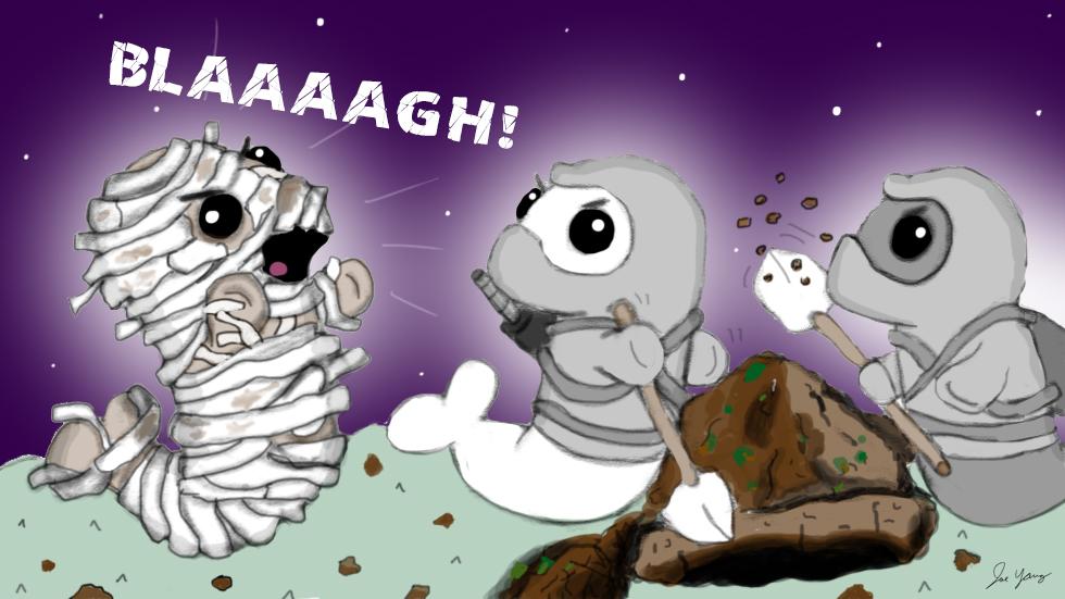 An annoying mummy interrupts the Ninja Seals' treasure hunt