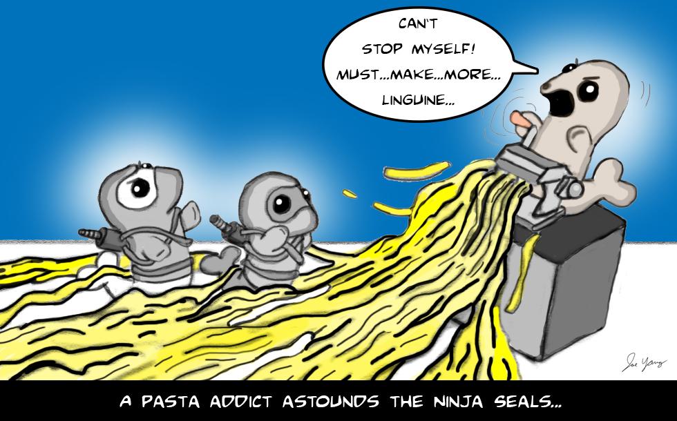 A pasta addict astounds the Ninja Seals