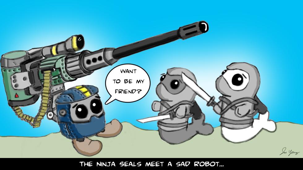 The Ninja Seals meet a sad robot