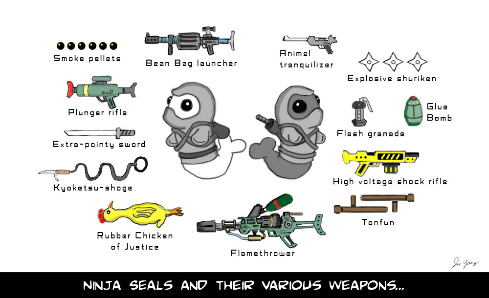 The Ninja Seals and their various weapons...
