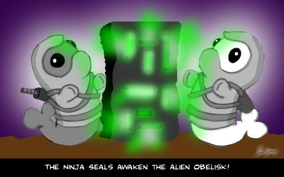 The Ninja Seals awaken the alien obelisk!