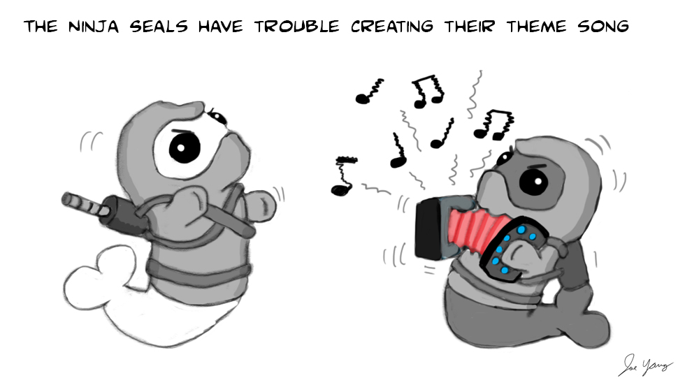 The Ninja Seals have trouble creating their theme song