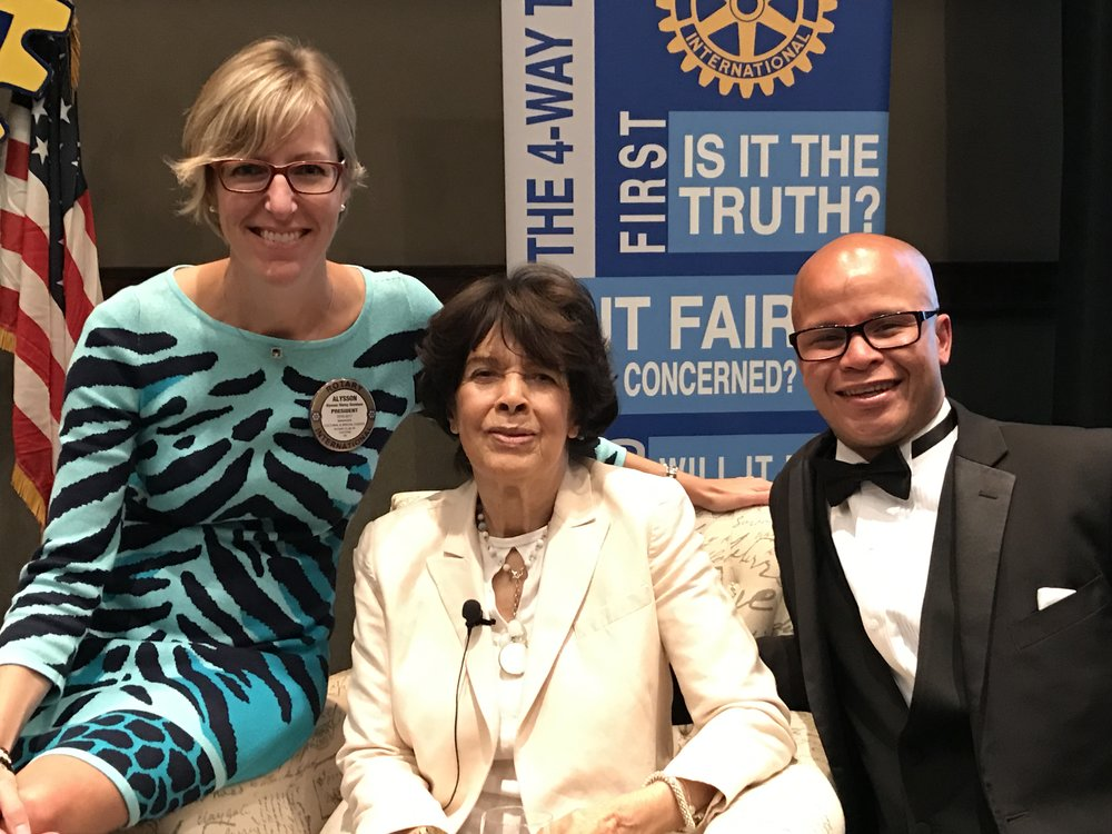 October 2016  - As president of the Chatham Rotary Club, Alysson has the privilege of introducing world-renowned sculptor Artis Lane.  Born in North Buxton, Ms. Lane's works include sculptures and paintings of world statesmen, sports and entertainment luminaries. Ms Lane has also featured contributors to Black accomplishment: Rosa Parks, Michelle Obama, and locally a bust of Mary Ann Shadd Cary at the BME Freedom Park.  Rotarian Chris Prince on right.