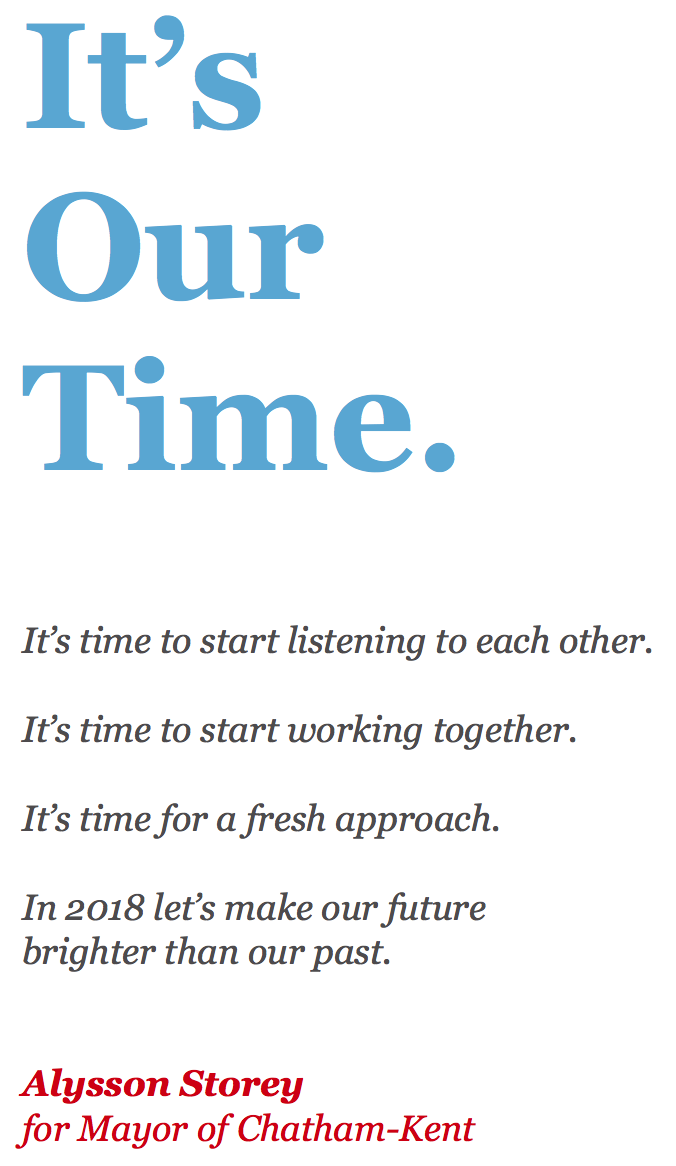 It's Our Time.