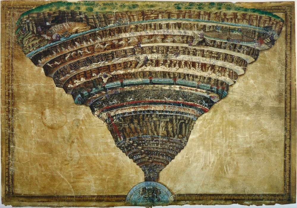 """""""La Mappa dell'Inferno"""", nella  Divina Commedia Illustrata da Botticelli ,  1485"""