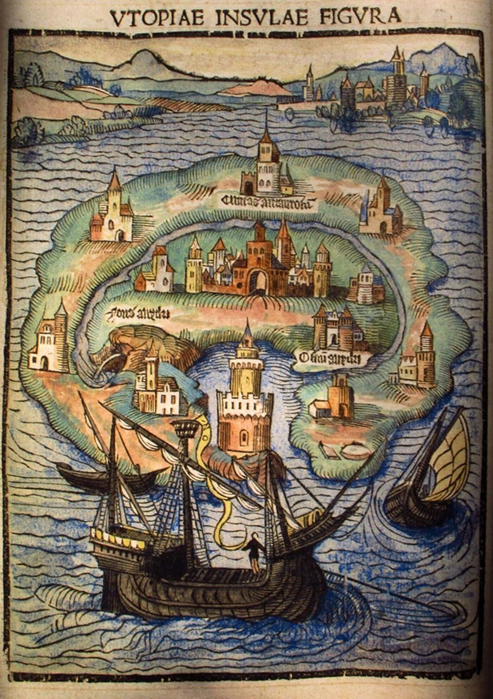 Copertina interna de l' Utopia  di Thomas More, 1516