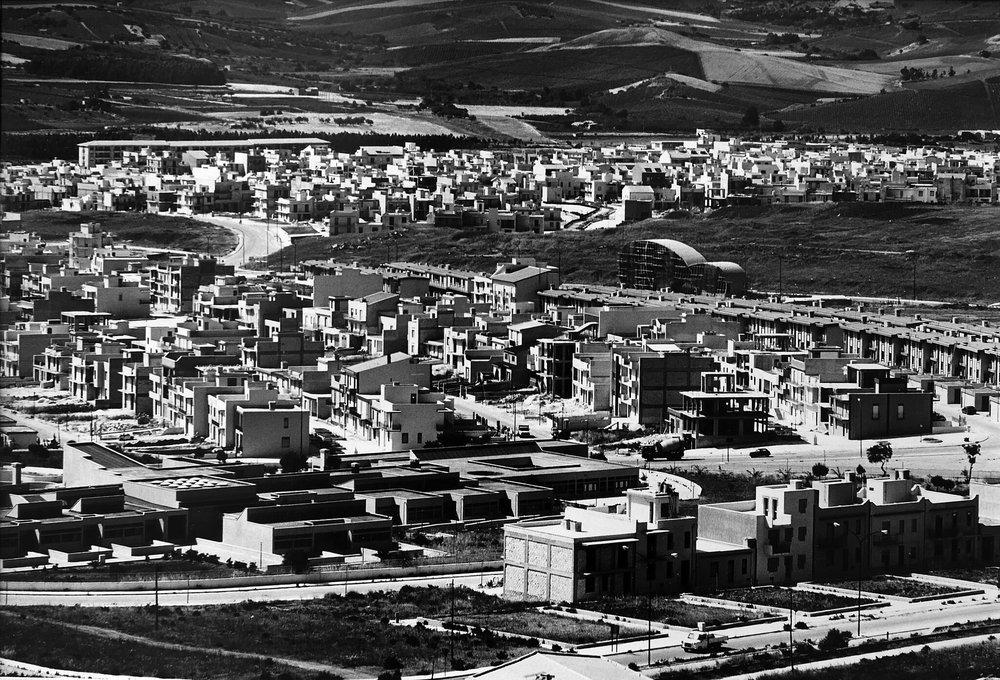 Gibellina Nuova under construction,1979,photo by Mimmo Jodice