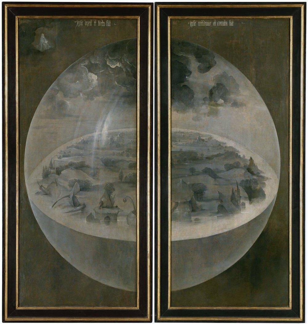 "Pannelli esterni del trittico ""The Garden of Earthly Delights"", Hieronymus Bosch ca. 1500"