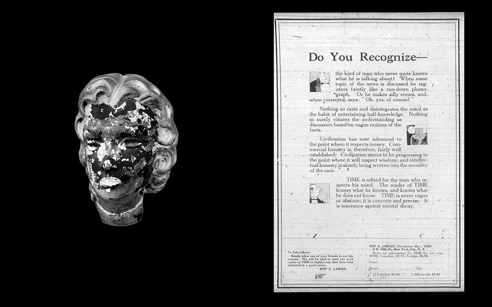 Do You Recognize— (Volume 1, No. 10)  2018 Vintage mannequin head, lead paint diptych of 55 x 45 cm