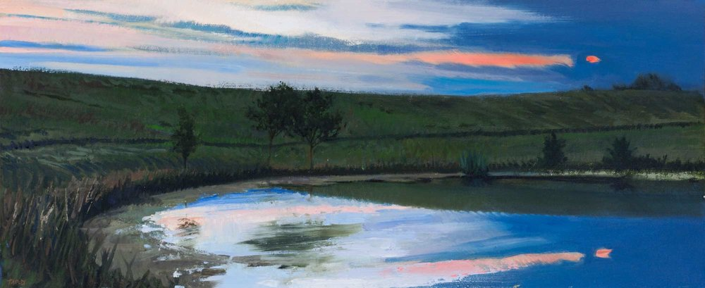 Farm Pond At Sunset , oil, 9x 22 inches