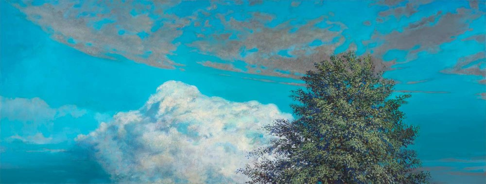 Clouds, Tree Oil, 32 x 84 inches