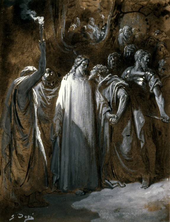 """Study for """"The Judas Kiss,"""" Gustave Doré (1865) via http://art.thewalters.org"""