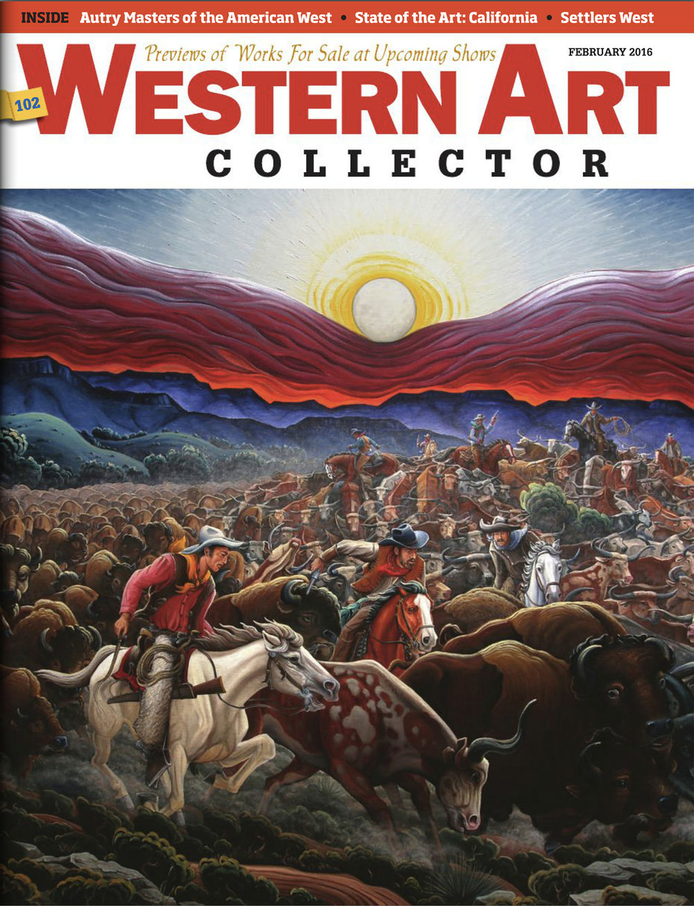 Western Art Collector Magazine  with Wiggins' painting,  Stampede 1866 , on the cover.