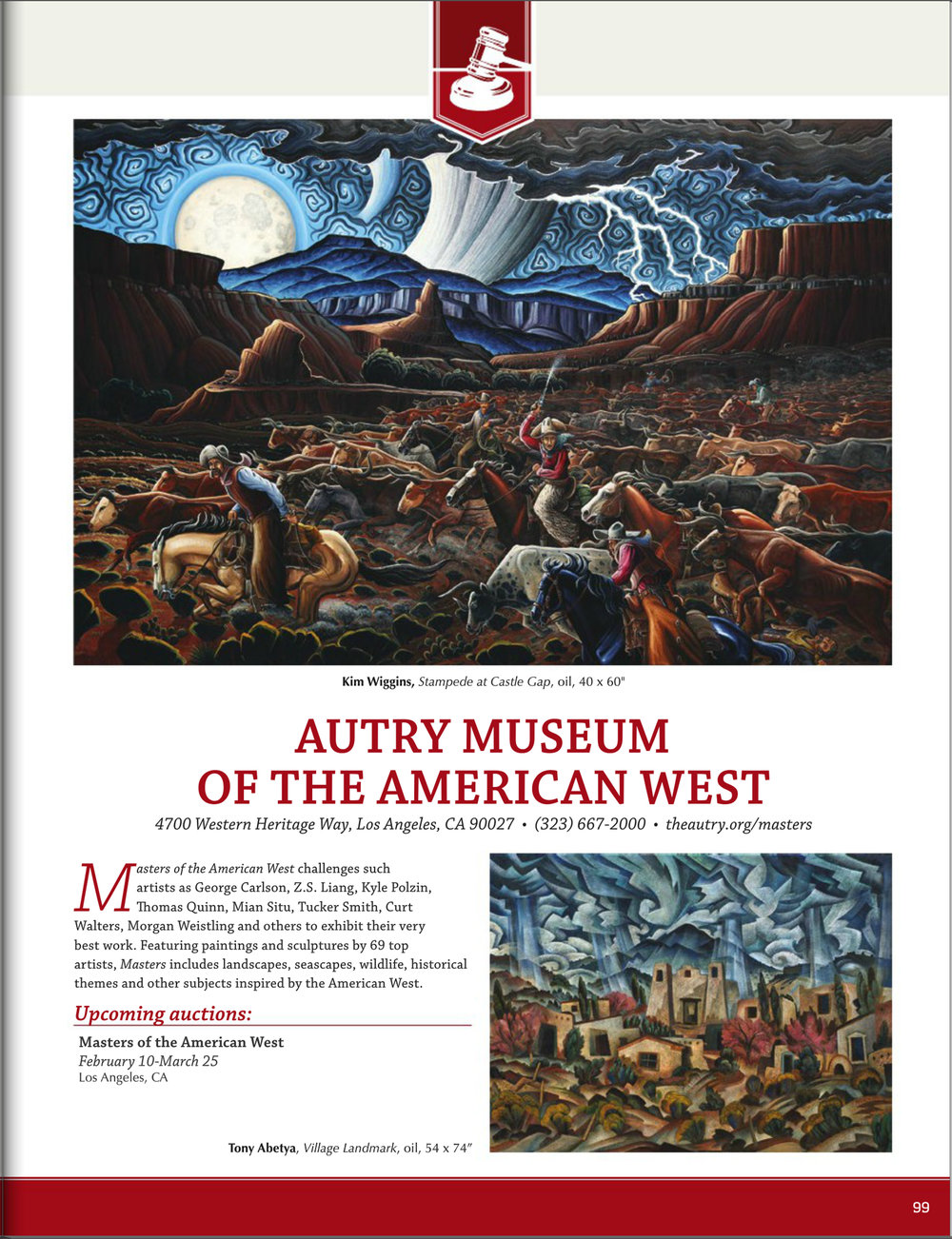 This is the first page of a recent article on the 2018 Masters of the American West in Los Angeles.  You can read the entire article in Western Art Collector Magazine, January, 2018.   A great big thank you to WAC magazine for featuring my work!