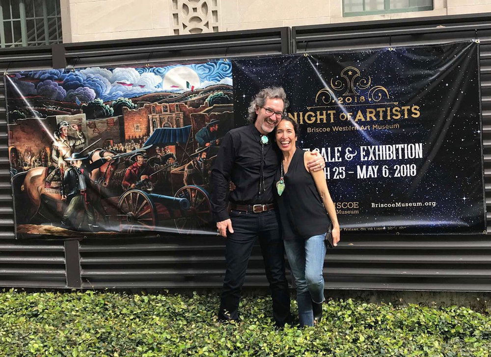 Here I am with my lovely wife, Maria, standing in front of the Briscoe Museum.  The banner in the background features my historical work, The Texians.   Yes, we had a blast!