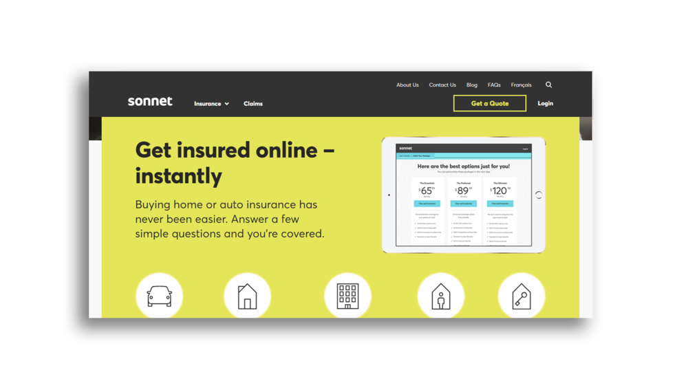 Sonnet  simplifies something that is likely very complicated. You are never confused about what to do on this landing page. As you scroll, they give you more and more arguments why you should click that button to get a quote. They don't write paragraphs detailing their insurance and they make it all very visual and easy to absorb.