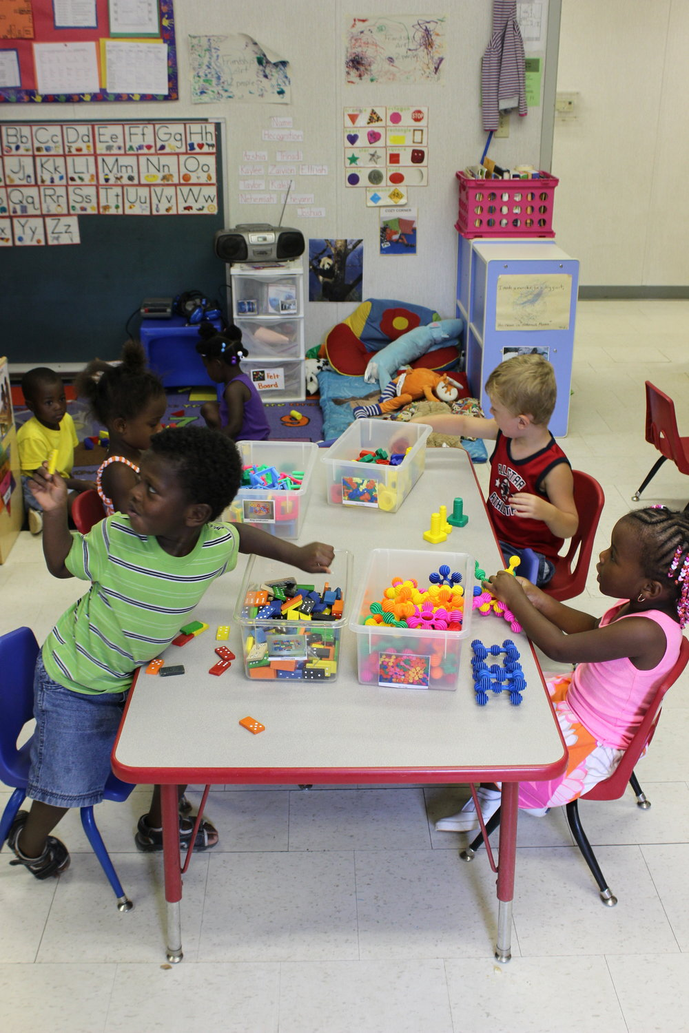 Three's and Four's Room - Tiny Treasures CDC uses The Creative Curriculum in our Three and Four Year Old classroom. The children have access to the following learning centers daily: Books, Dramatic Play, Blocks, Art, Sand and Water, Science, Math, Manipulatives, Music and Movement, Writing and Computers, and Outdoors.