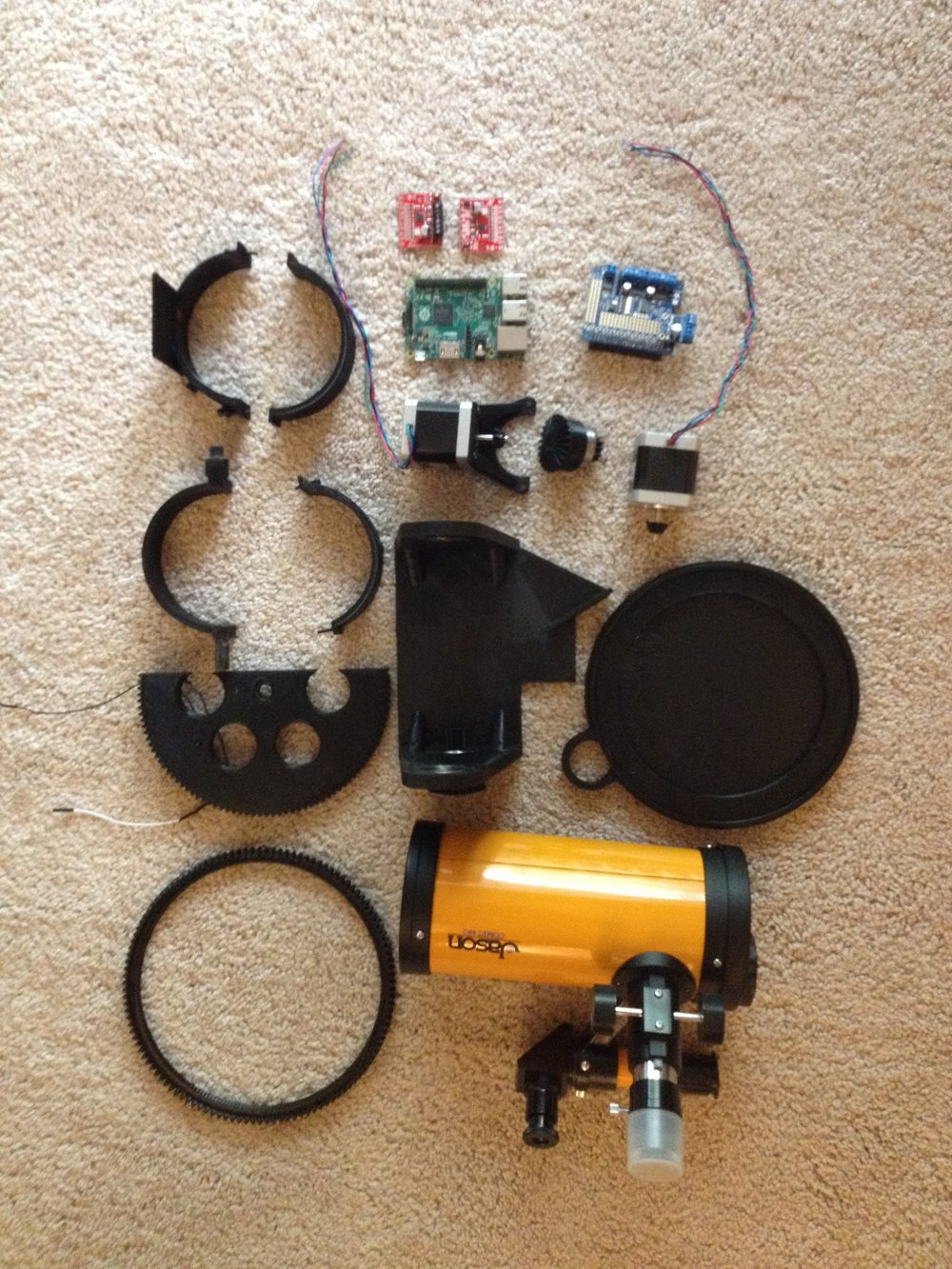 The telescope gimbal, mostly disassembled
