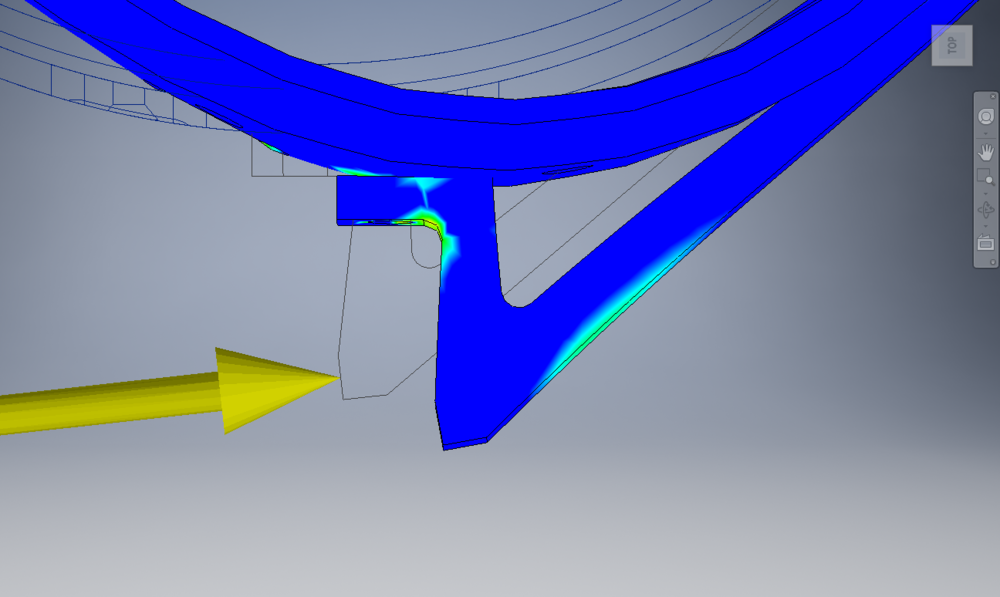 Third Iteration FEA Showing a Gap between the tooth and the root.
