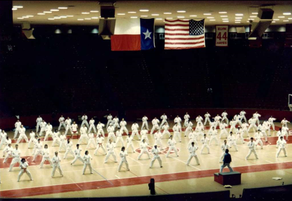 Kim Soo instructing a University of Houston physical education class at Hofheinz Pavilion in 1995.