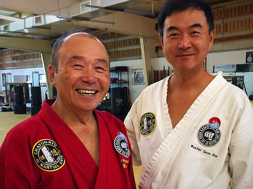 Grandmaster Kim Soo and his son, Master Sean Kim, in 2017.