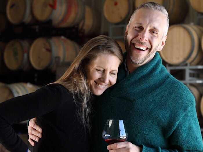 Trail Marker Wine - Drew Huffin and Emily Virgil • Northern California  We source fruit from small, responsibly farmed and passionately cared for vineyards from Mendocino to Santa Ynez and everywhere in between. Our winemaking style allows us to makes wines that are high acid, low alcohol — well balanced expressions of these excellent vineyards. We serve our wines at our table with great pride and think you will too.