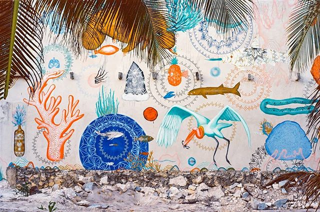 Tulum, Aug. 2015. The colors in this mural were stunning! The creatures were playful and the symbols captivating. The artist painted this on the side of a concrete shell of a building on the beach, and the way it blended in with the rest of colorful Tulum made it feel as if we were walking through the octopus' garden. If anyone sees this and knows who the artist is or knows what this wall looks like nowadays, give me a shout!  #pentaxk1000 #kodakektar100 #35mm #alacran #pescados #narwhal #manatee #coral #crane #corazonenlasmanos #mural #streetart #tulumbeach #octopusgarden #bashed88 #back2thebase #filmisalive #quintanaroo