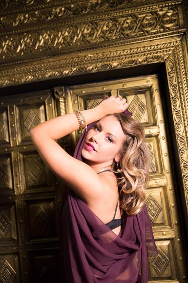 Gold door and beautiful girl